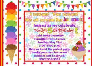 Photo Ice Cream Cone Shop Birthday Boy Girl Invitation