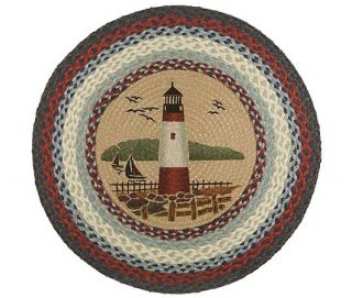 Accent Rug Round Durable Natural Jute Braided Lighthouse Nautical