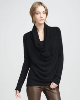 Vince Ribbed Boat Neck Sweater & Textured Leather Jeans   Neiman