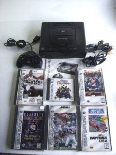 Sega Saturn Vintage Video Game Console System w 6 Games