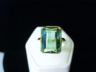 10K Yellow Gold Large 10 Carat Hiddenite Gemstone Ring