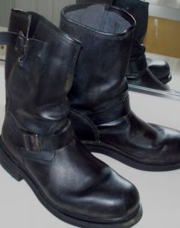 Herman Survivors Engineer Motorcycle Black Leather Mens Boots Sz 13