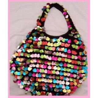 C STAR MULTICOLOR SEA SHELL SHAPED SEQUIN HOBO HANDBAG