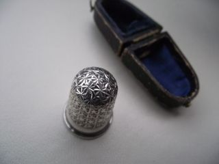 Antique Solid Silver Charles Horner Thimble with Case Cased Size 8