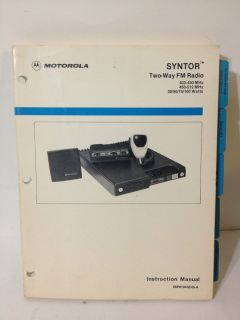Motorola Syntor 2 Way Radio UHF Low High Power User Instruction Manual