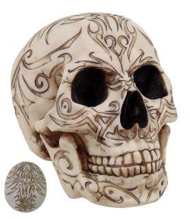 Cream Tribal Tattoo Homosapien Skull Statue Figurine