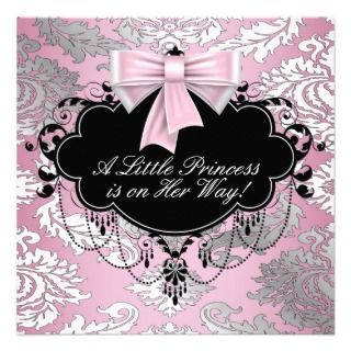 Silver Pink Black Princess Baby Girl Shower Invite