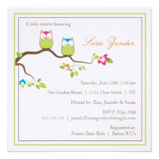 Baby Shower Invitation   Twin Boy & Girl Baby Owls