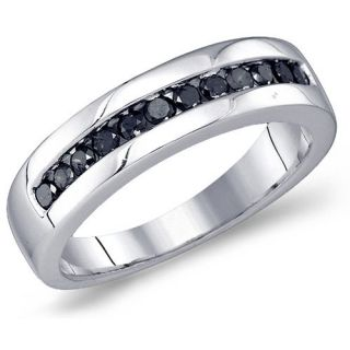 Mens Black Diamond Ring Engagement Band Wedding Fashion 10k White