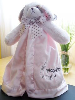 Bearington Baby Blanket Security Embroidered Personalized Pink Lovey