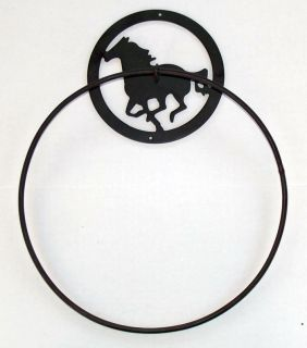 Equestrian Bathroom Decor Horse 12 Towel Ring Cast Iron/Wrought Iron