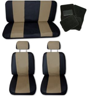 Lightweight Tan Black Synthetic Leather Car Seat Covers w/ Black Floor