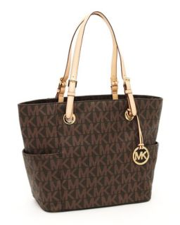 V13Y1 MICHAEL Michael Kors Logo Print Signature Tote Bag, Brown