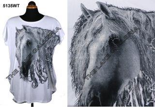 Womens Sexy Horse Print Beaded Loose Style T Shirt Mini Dress Fits
