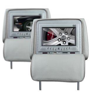 Tan Black Car Pillow Headrest DVD Player Sony Lens IR FM USB