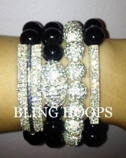 Black Skull Rhinestone Bar Bracelet Friendship Honesty BBW