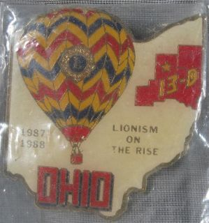 1987 88 Ohio 13 D Hot Air Balloon Lions Club Pin