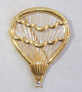 Hot Air Balloon Brooch Vtg? Monet Gold Tone Rhinestone Pin White Stone