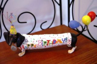 Hot Diggity Dog Dachshund Happy Birthday Figurine