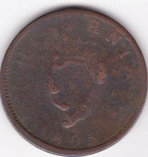 Ireland Hibernia Half Penny 1805 Old Coin