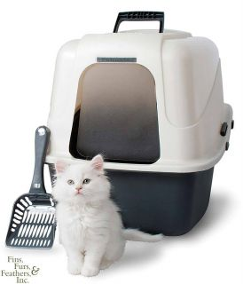 Hooded Cat Litter Box Deluxe Kit with Microban Large