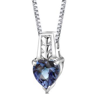 Silver Heart Shape Alexandrite Pendant 18 inch Silver Necklace