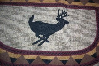 New Berber Hearth Fireplace Rug Whitetail Deer Rustic Earthtones