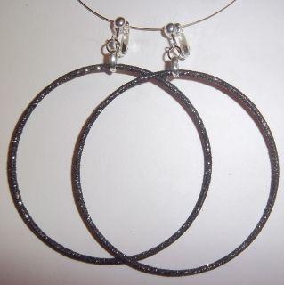 Clip on 3 25 Gray Glitter Thin Large Hoop Earrings J335 Juicebox