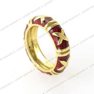 Hidalgo 18K Yellow Gold Red Enamel Ring