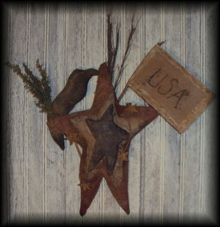PRIMITIVE GRUNGY AMERICANA STARS & CROW DOOR DOLL ~RED WHITE & BLUE