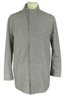 Zara Heather Gray Jacket Sz L Wool Cashmere Blend Hidden Zipper Mens