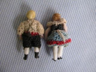 Antique Carl Horn All Bisque Bavarian Dolls with Original Crocheted