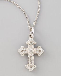 Byzantine Cross Necklace, White Gold