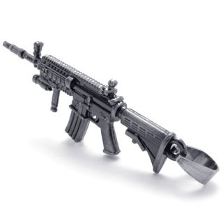 Stainless Steel 2 3 Toy Heckler Koch HK416 Assault Rifle Gun Pendant