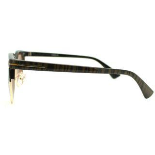 Squared Half Rim Wayfarer Thick Horn Rim Sunglasses Brown