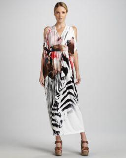T5GDS Melissa Masse Zebra Print Caftan Dress