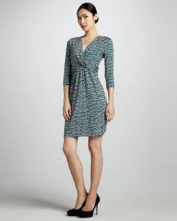 in azurite blk ivory $ 215 00 dkny printed twisted front dress
