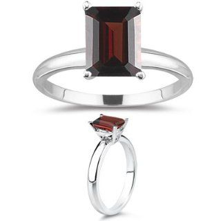 37 Cts Garnet Solitaire Ring in 18K White Gold 5.5 Jewelry