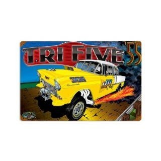 55 Chevy TrifiveHot Rod Drag Race Vintage Metal Sign 12 X