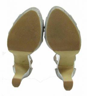 Steve Madden Silver Glitter Platform Heels 8 5 Open Toe Sandal Zipper