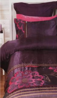 Koo Purple Pink Embroidered Faux Silk Queen Quilt DOONA Cover Set New
