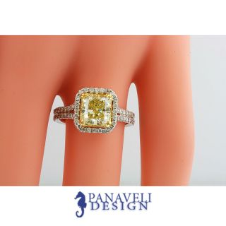 Fancy Yellow Cushion Cut Diamond Engagement Ring 18K White Gold