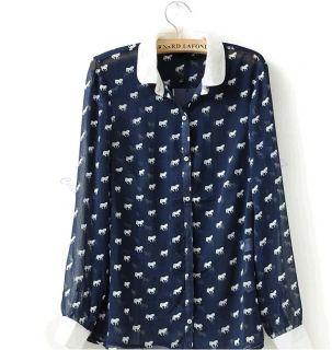Fashion Vintage Chiffon Women Roll Collar Horse Print Blouse Shirt