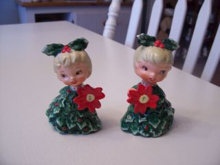 Vintage 1950s Holt Howard Christmas Tree Angels Salt & Pepper Shakers