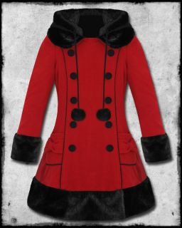 Hell Bunny Sarah Jane Red Black Fur Trim Hooded Wool Mix Winter Jacket