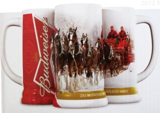 2012 Budweiser Holiday Limited Edtion Ceramic Beer Stein Mug Pint