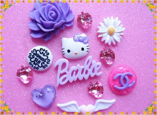 DIY12pcs Large Purple flower hello kitty phone case cabochon kawaii