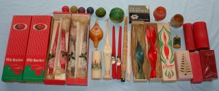 Vintage Christmas Holiday Candle Lot Tapered Pillar Decorative Glitter