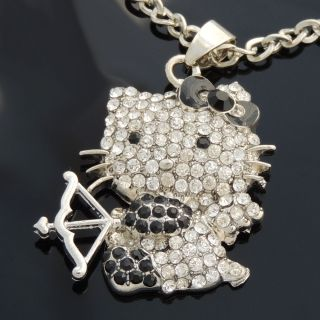 New Black Hello Kitty Angel Bling Rhinestone Crystal Charm Pendant