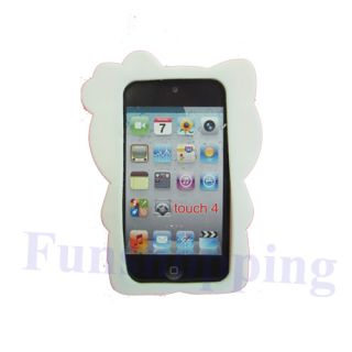 Pink 3D Hello Kitty Cat Silicone Skin Soft Cover Case for iPod Touch 4